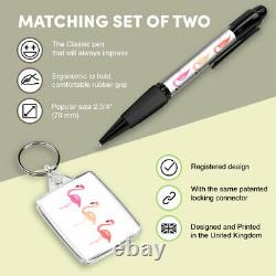 Pen & Keyring (Rectangle) Watercolor Pink Flamingo Birds #8141