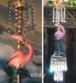 Pink Flamingo Bird Swag Lamp Chandelier Crystal brass porcelain Tropical bathroo