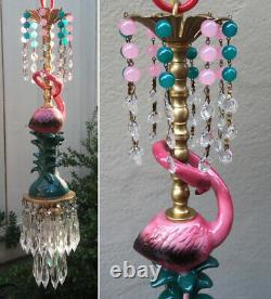 Pink Flamingo Bird Swag Lamp Chandelier Glass Crystal brass porcelain Whimsical