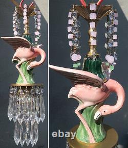 Pink Flamingo Bird Swag Lamp Chandelier Glass Crystal brass porcelain bead chain