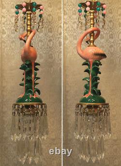 Pink Flamingo Bird Swag Lamp Chandelier Glass Crystal brass porcelain beaded dsg