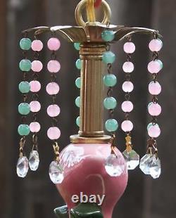 Pink Flamingo Bird Swag Lamp Chandelier Glass Crystal brass porcelain beads HP