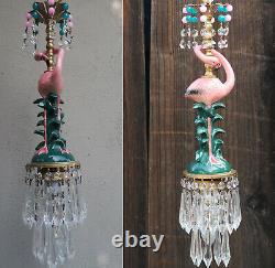 Pink Flamingo Bird Swag Lamp Chandelier Glass Crystal brass porcelain beads opal