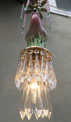 Pink Flamingo Bird Swag Lamp Chandelier Glass Crystal brass porcelain unique