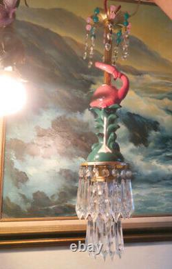 Pink Flamingo Bird Swag Lamp Chandelier Glass Crystal porcelain beads Bamboo dsg