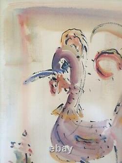 Pink Flamingo Bird Watercolor by Jo Birdsey Lindberg BERMUDA WC ORIGINAL SIGNED