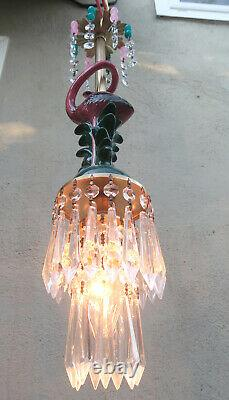 Pink Flamingo Bird ceiling Lamp Chandelier Glass Crystal porcelain beads Bamboo