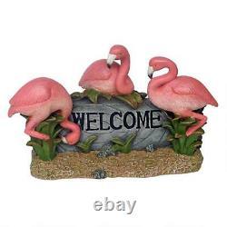 Pink Flamingo Coastal Welcome Garden Bird Beach Outdoor Statue