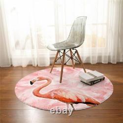 Pink Flamingo Feather Animal 3D Bird Round Rug Carpet Mat Living Room Bedroom