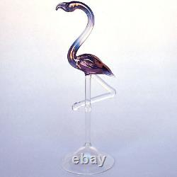 Pink Flamingo Figurine of Hand Blown Art Glass Crystal