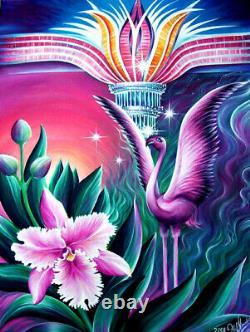 Pink Flamingo. On a way to Las Vegas. Painting by Sofia Goldberg. Original