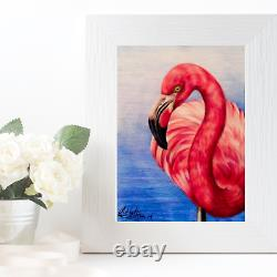 Pink Flamingo Original Pencil Drawing, A4 Drawing Mounted and Backed