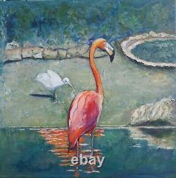 Pink Flamingo Painting Bird Tropical Wildlife Florida Animals Original Fine Art