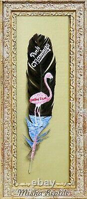 Pink Flamingo, Painting on a feather