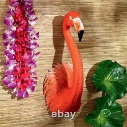 Pink Flamingo Wall Sculpture South Seas Tiki Bar Tropical Decor