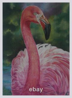 Pink Flamingo Water Nautical Bird Realism Pastel painting artist D. Dellinger