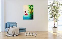 Pink Flamingo oi painting, landscape painting, animal, bird, Tropical Art