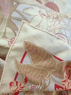 Pink Flamingos Very Large Silk Scarf Shawl Wrap Hand Rolled Hems Birds Floral