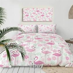 Pink Floral Bird Rose Flamingo King Queen Twin Quilt Duvet Pillow Cover Bed Set