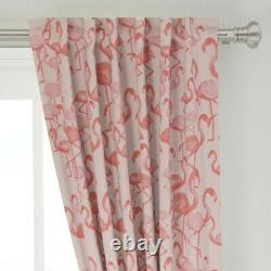 Pink Painted Flamingo Tropical Beach Summer 50 Wide Curtain Panel by Roostery