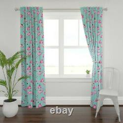 Pink Watercolor Flamingo Flamingos Teal Bird 50 Wide Curtain Panel by Roostery