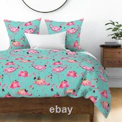 Pink Watercolor Flamingo Flamingos Teal Bird Sateen Duvet Cover by Roostery