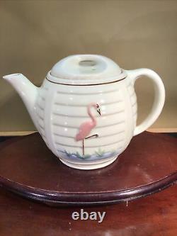Porcelier Most Rare Teapot 1940S Textured Pink Flamingo Wading Bird