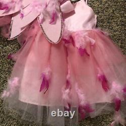Pottery Barn Kids Pink Flamingo Halloween Costume Tutu 4-6 Headdress Cute Bird