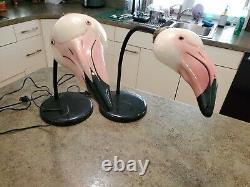 RARE Vintage Adorable Ceramic Head Pink FLAMINGO Bendable Lamp Light Set