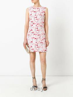 RED Valentino Flamingo Print Faille Fit & Flare Dress (Size 46- US 8)