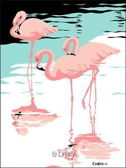 S/N Pink Flamingos Artist Proof Serigaph, Tropical Birds Pop Art, Walt Curlee