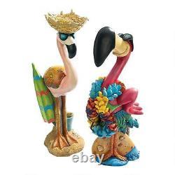 Set of 2 Tropical Pink Flamingo Statue Luau Pop Culture Decor Sculpture