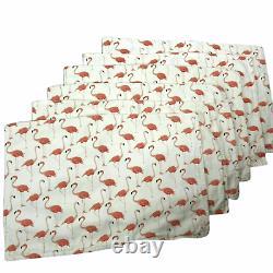 Set of 6 Rectangular Kate Spade Flamingo Cotton Canvas Placemats Place Mats