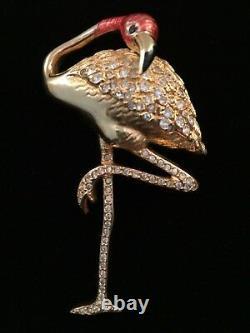 Signed Swarovski Pink Flamingo Bird Brooch Pin SALE
