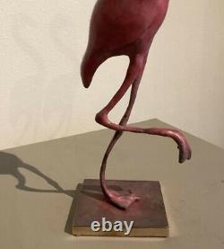 Solid Bronze Cold Painted Hot Pink FLAMINGO Bird Sculpture Ornament made in UK