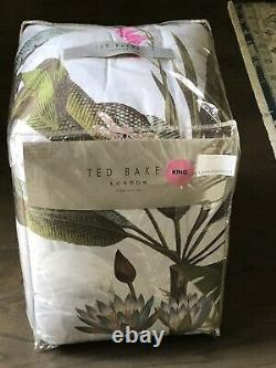 TED BAKER Pistachio Border Gray withPink Flamingos /Birds KING Comforter Set