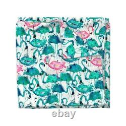 Teal + Pink Flamingos Flamingo Watercolor Birds Sateen Duvet Cover by Roostery