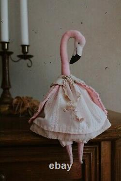 Teddy Handmade Interior Toy Collectable Gift Animal Doll OOAK Flamingo Bird