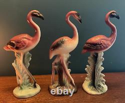 Three Vintage Ceramic PINK FLAMINGOS Mid Century Modern MCM 10 Figurines