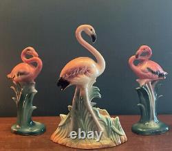 Three Vintage Ceramic PINK FLAMINGOS Mid Century Modern MCM 2 8+10 Planter