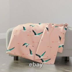 Throw Blanket Bird Pink Baby Flamingo Fly Ocean 48 x 70in