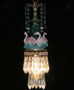 Tropical Pink Flamingo Bird Swag Lamp Chandelier Glass brass porcelain LOTUS