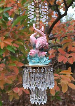 Tropical Pink Flamingo Bird Swag Lamp Chandelier brass porcelain LOTUS pond lily