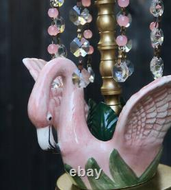 Tropical Pink Flamingo porcelain Bird Ceiling Lamp Chandelier Glass Crystal Bead