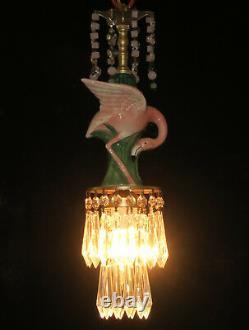 Tropical Pink Flamingo porcelain Bird Ceiling Lamp Chandelier Glass Crystals