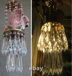 Tropical Pink Flamingo porcelain Bird Swag plugin Lamp Chandelier Glass Crystal