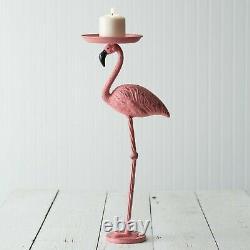 Unique Pink Flamingo Candle Holder Set Metal Indoor Outdoor Decorative Lighting