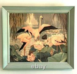 Vintage 1940s Tropical Pink Flamingos Litho Art Print Framed