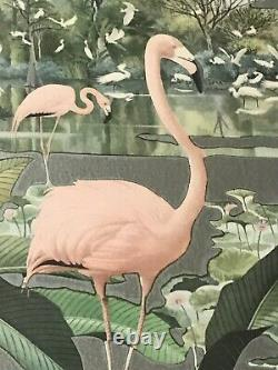 Vintage 1950's Robert Stern Pink Flamingo and Flock Mid Century Wall Mirror