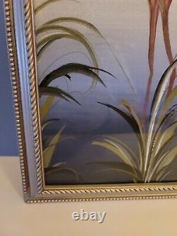 Vintage 1950s M. Devoe Pink Flamingo Painting Silverboard Framed